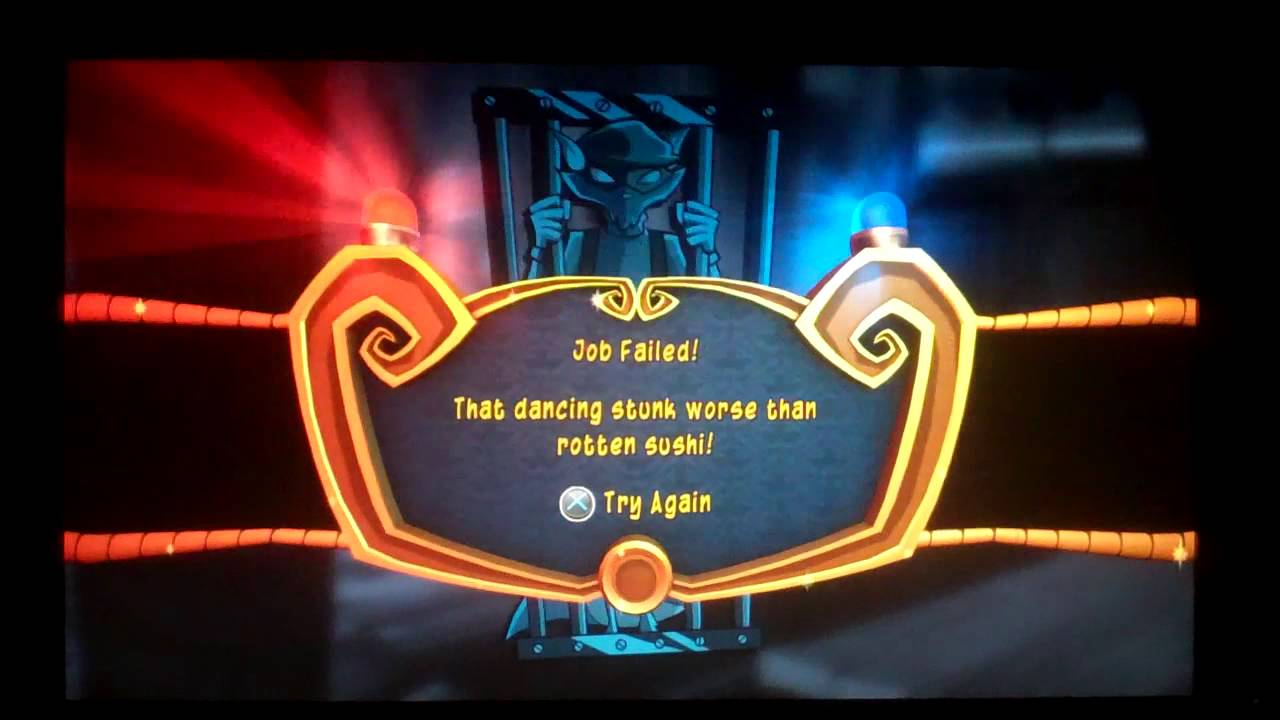 Sly Cooper 4 Thieves In Time job failed screen 1280x720