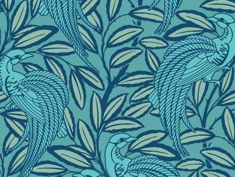 Tailfeather Peacock Blue Designer Wallpaper 750x566