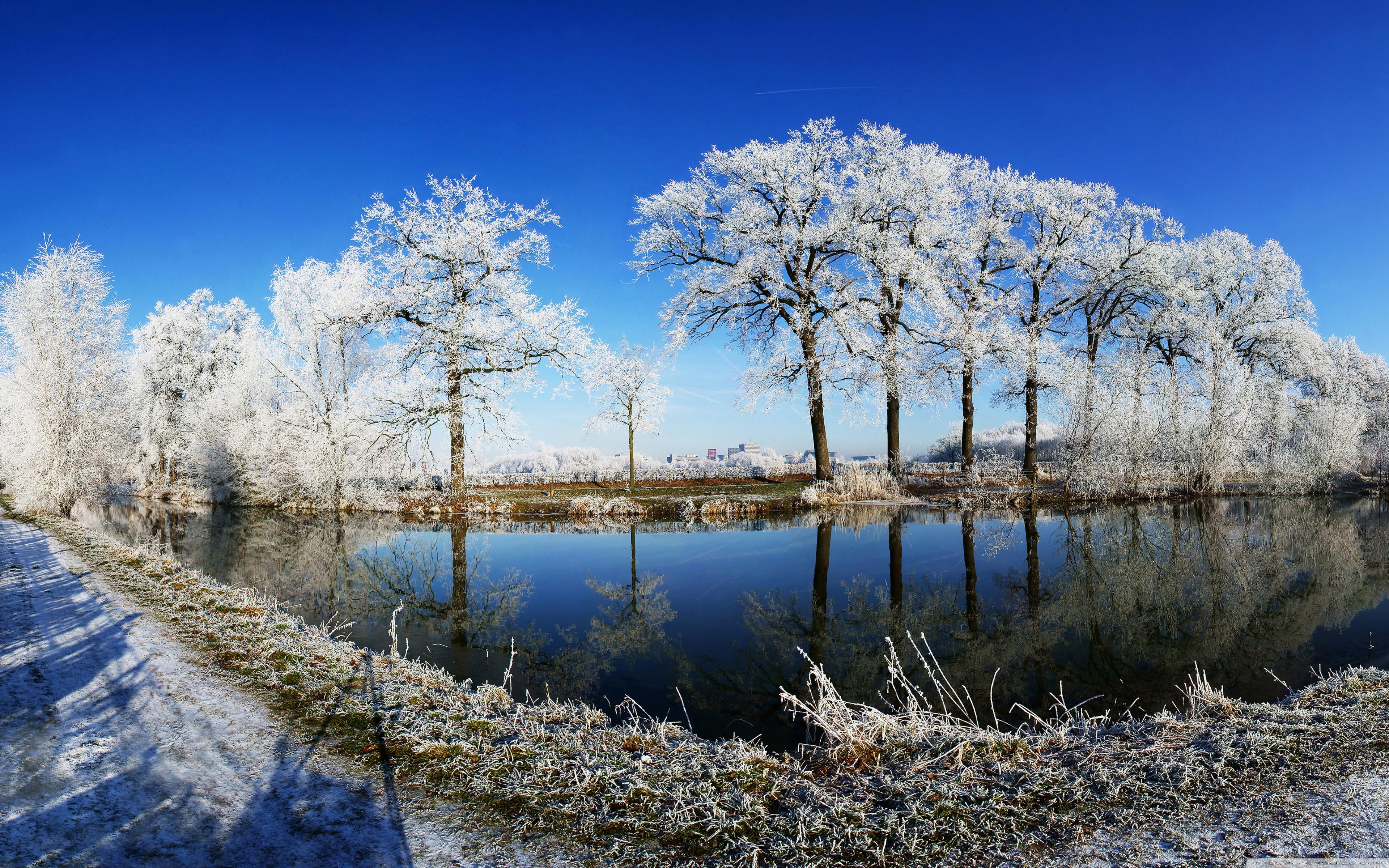 Crooked Rhine River Fisheye Photography 4K HD Desktop Wallpaper 3840x2400