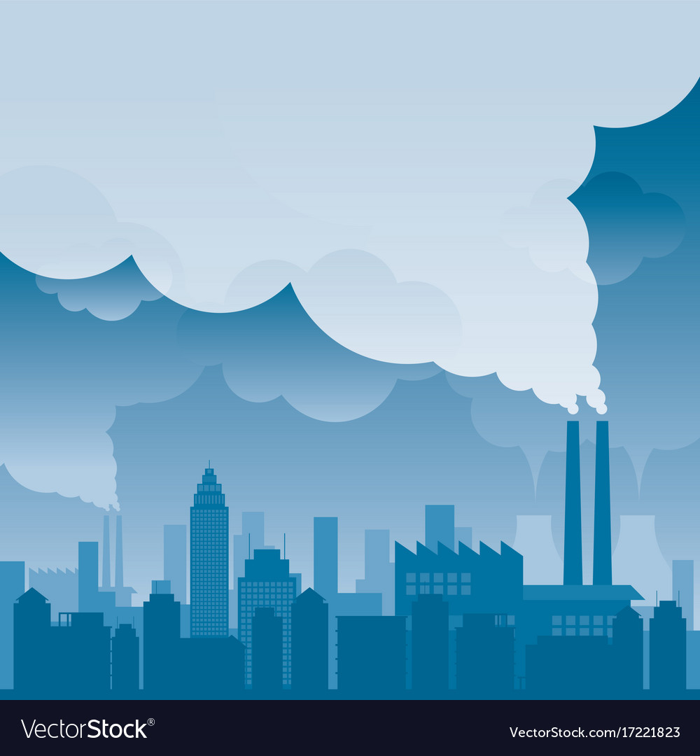 City with pollution problem blue background Vector Image 1000x1080