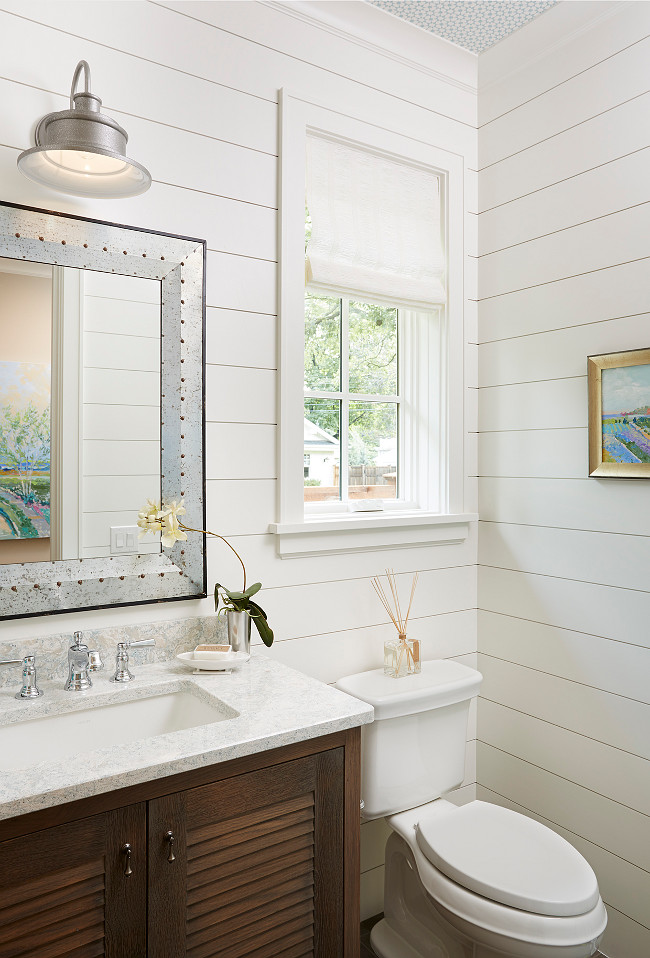 Shiplap Bathroom painted in White Dove OC 17 by Benjamin Moore 650x958