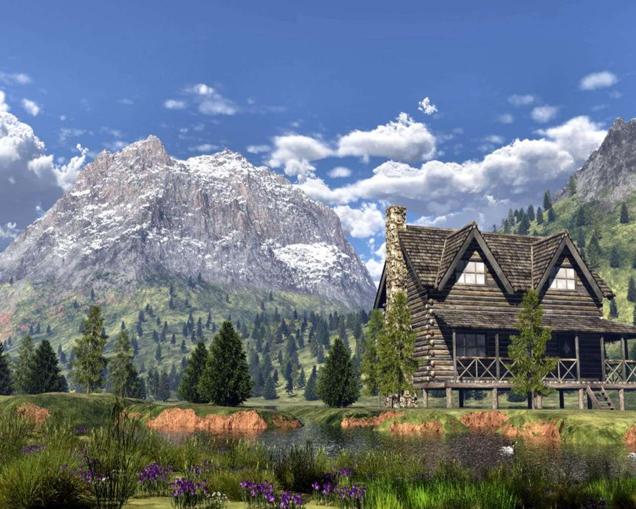 Mountain Cabin Wallpaper Best Hd Wallpapers 1280x1024