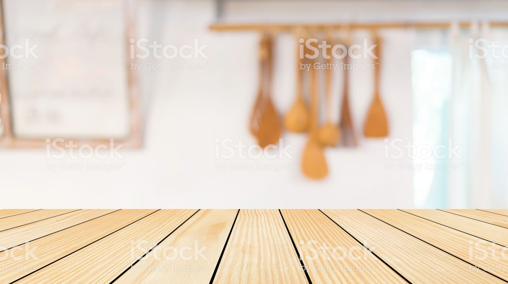 Blur Kitchen Interior In House Background With Cream Wood Tabletop 1024x572
