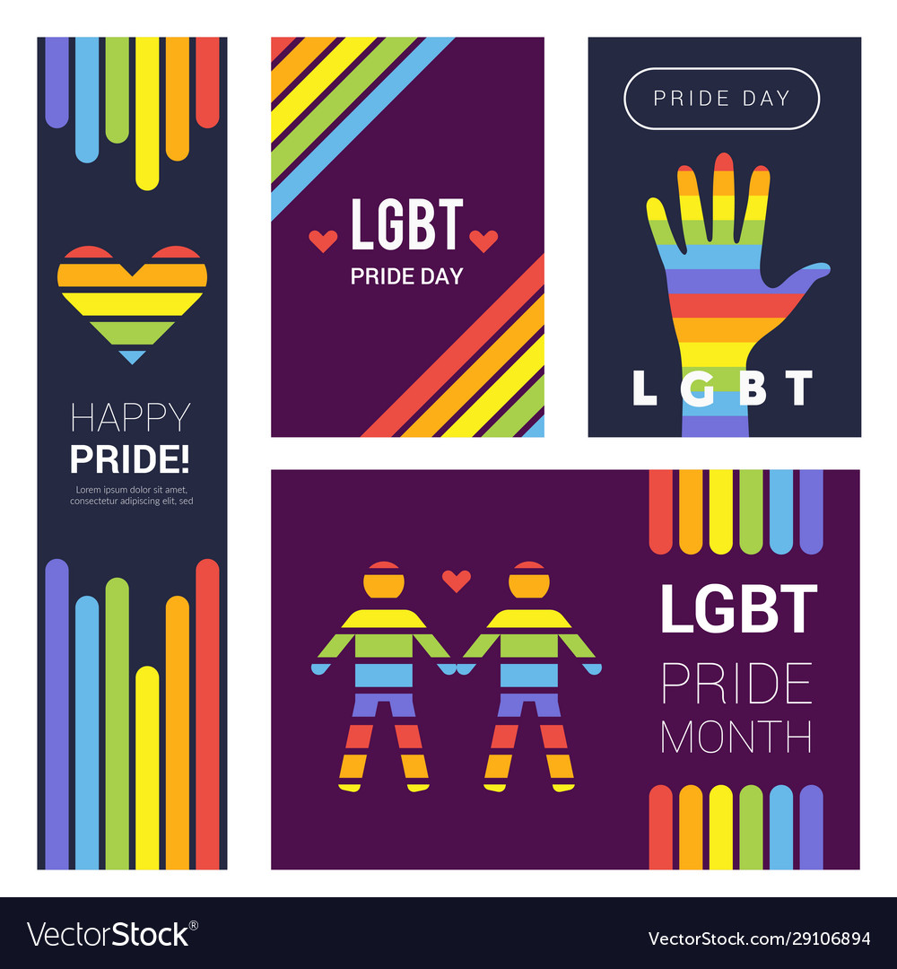 Lgbt banners pride rainbow colored backgrounds Vector Image 1000x1080