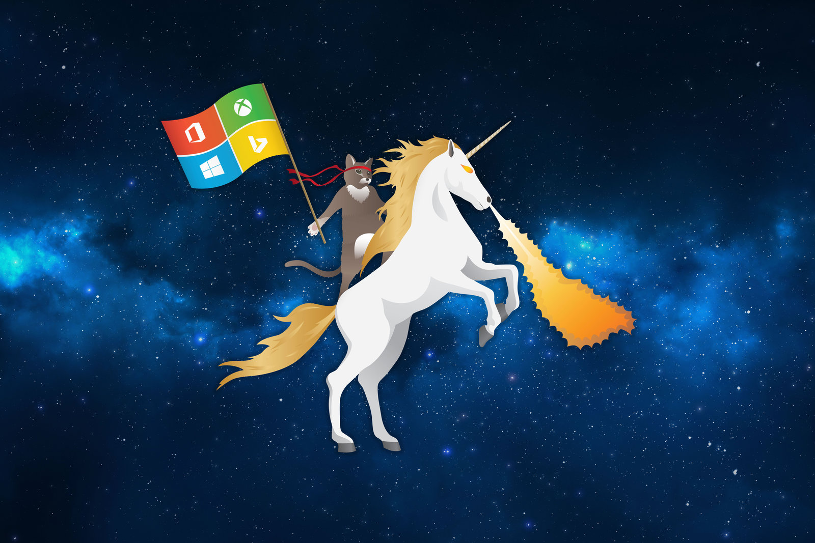 MS Ninja Cat Riding Unicorn Space Blue by flothegangsta 1600x1067