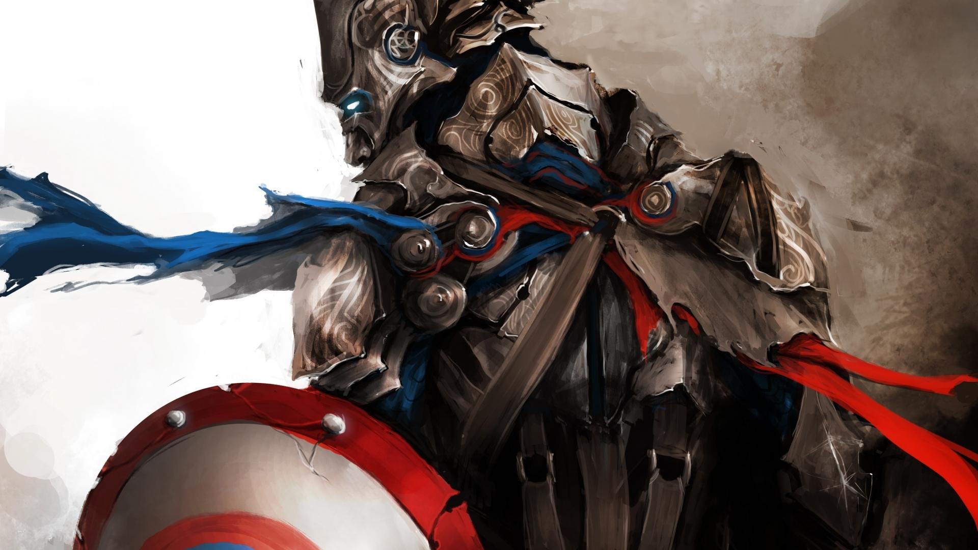 medieval captain america superhero wallpaper background 1920x1080