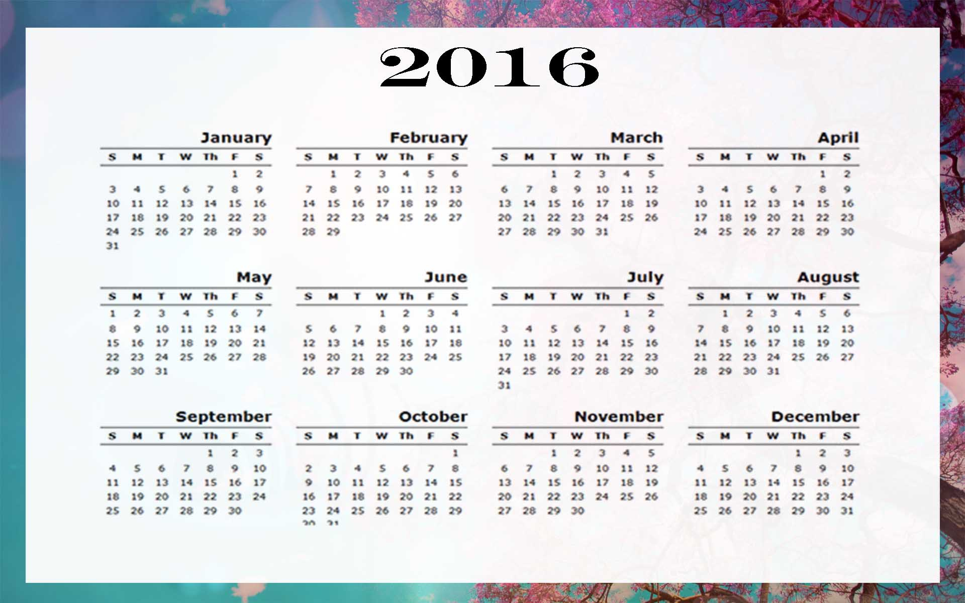 2016 calendar download for Conflict calendar template