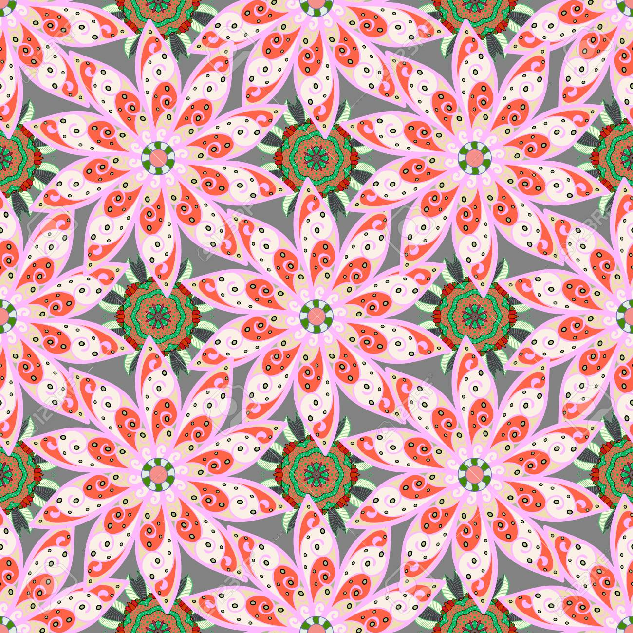 Seamless Pattern With Flowers On Motley Background Vector 1300x1300