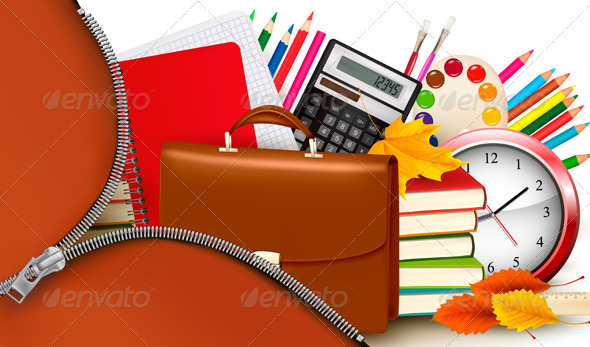 Back to school Background with school supplies and open zipper Vector 590x347
