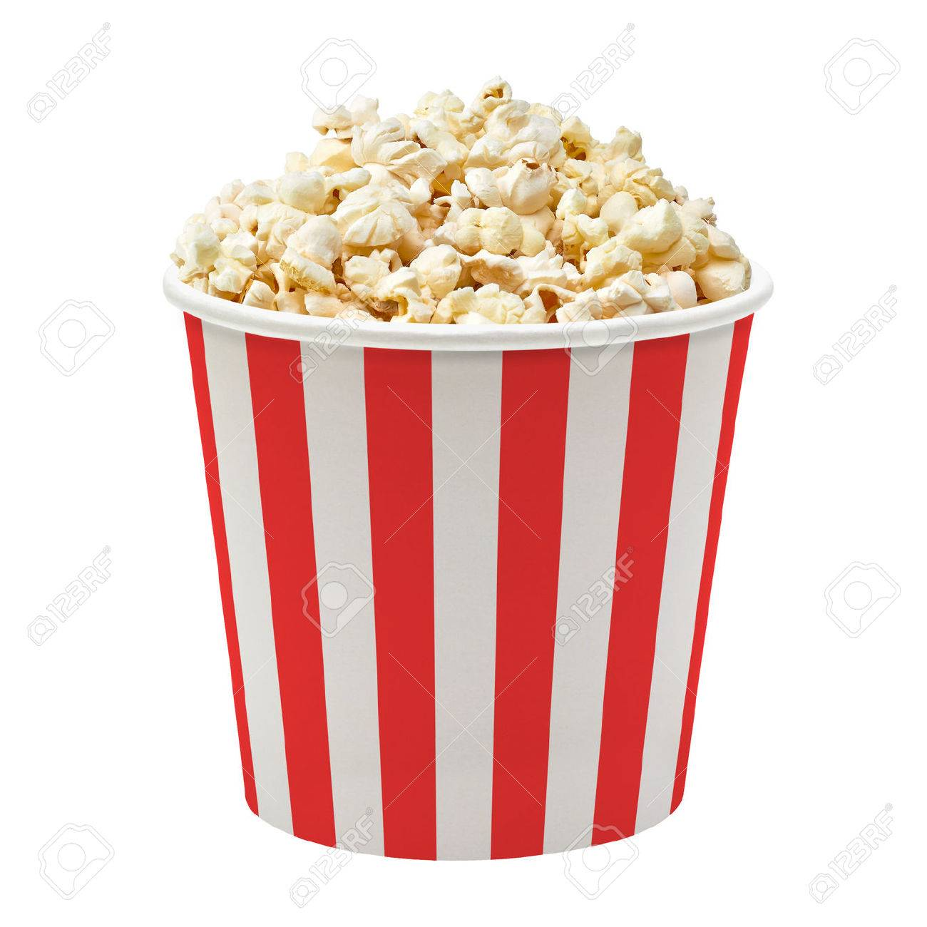 Popcorn In Striped Bucket On White Background Stock Photo Picture 1300x1300