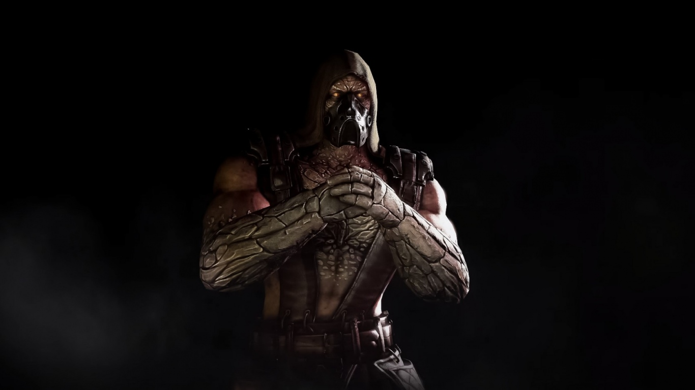 HD Background Tremor Mortal Kombat X Scorpion Game Character Wallpaper 1366x768