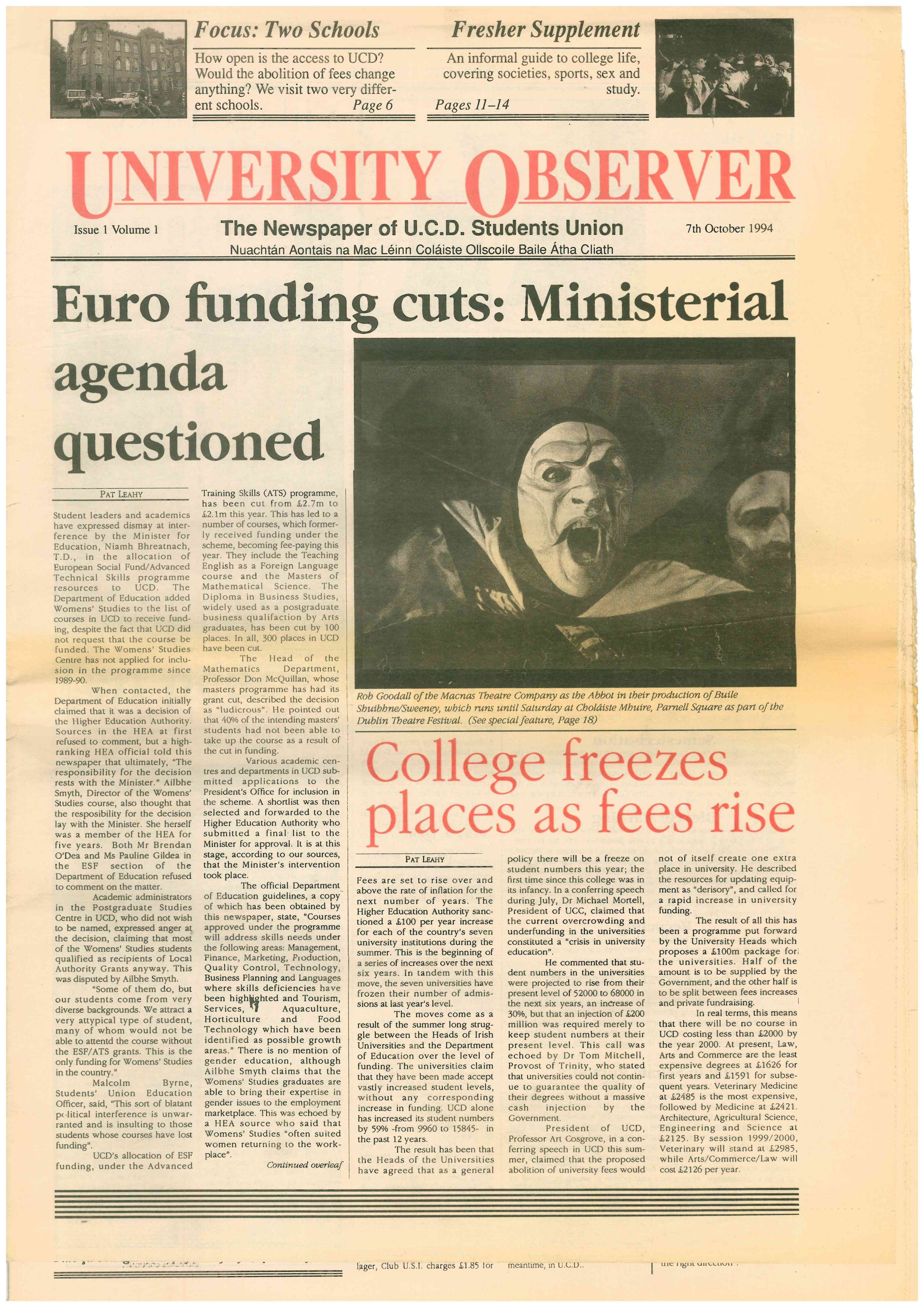 Euro funding cuts Ministerial agenda questioned University Observer 3507x4960