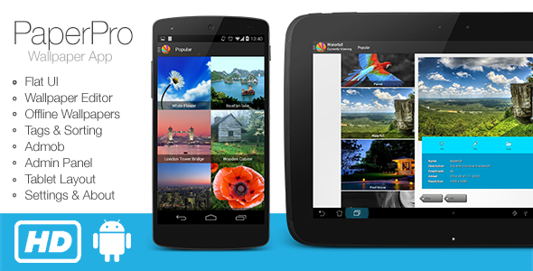 PaperPro   Rich Android Wallpaper App Template   CodeCanyon Item for 590x300