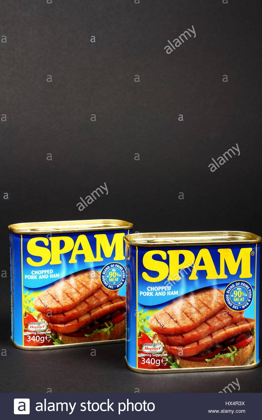 Hormel tinned Spam chopped pork and ham luncheon meat isolated on 866x1390