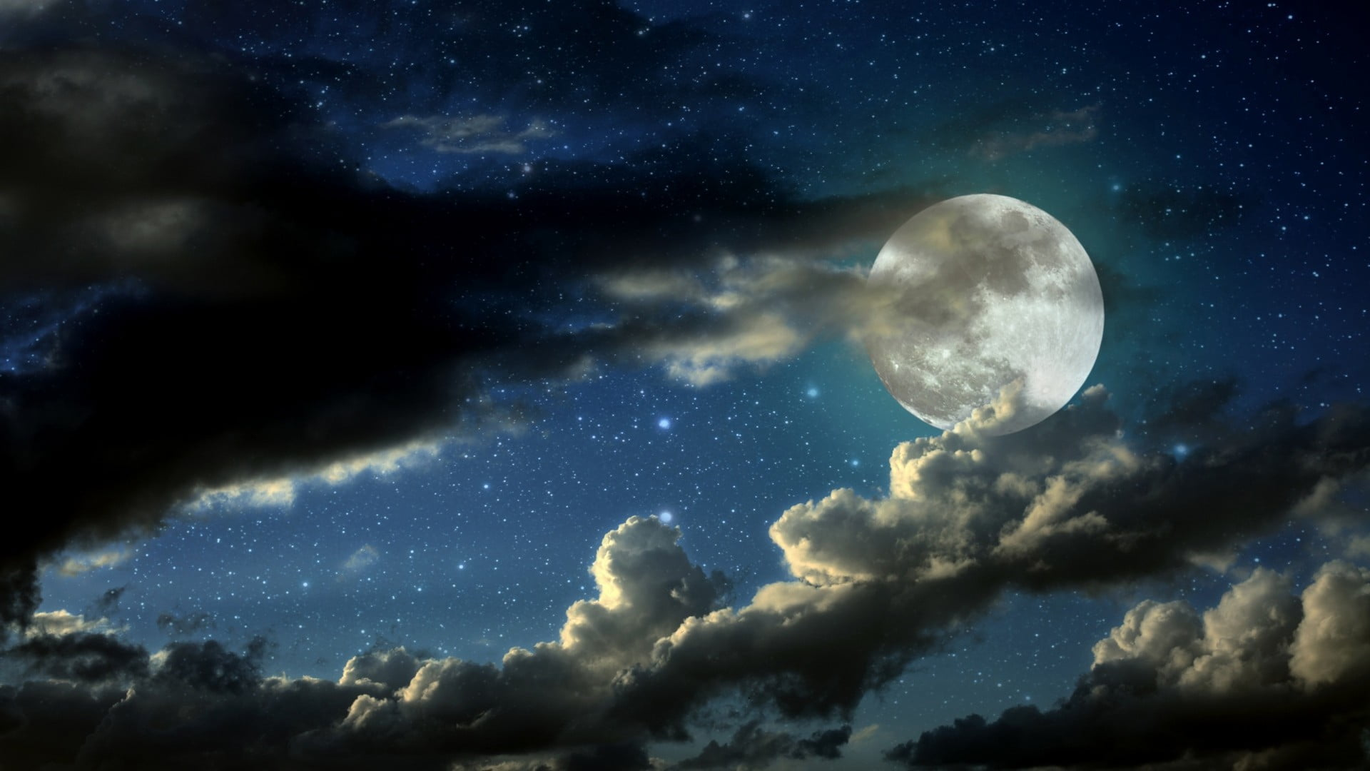 White and black fish with fish Moon stars clouds HD wallpaper 1920x1080