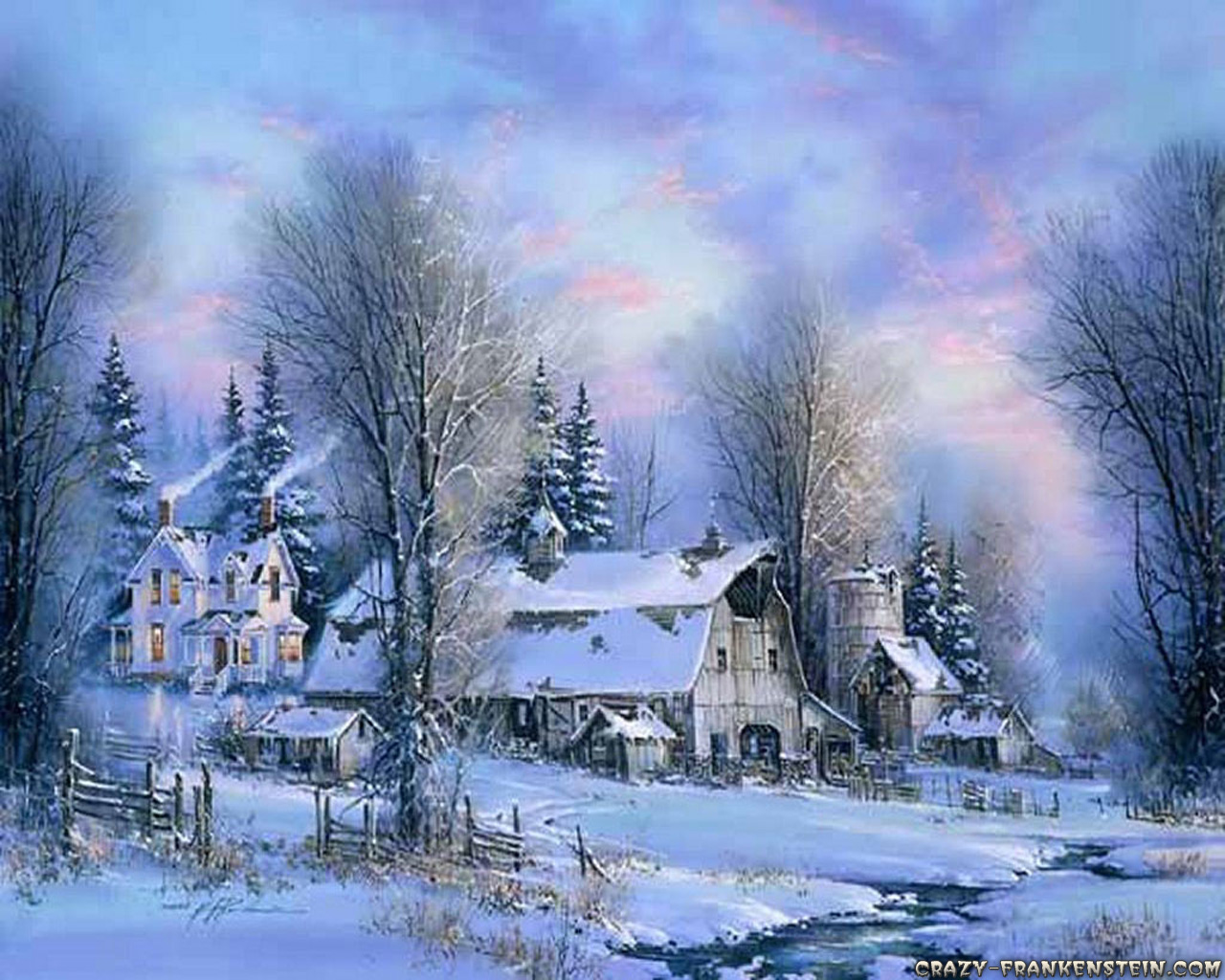 Country Side Of Life countryside idyl old christmas wallpaper 1280x1024