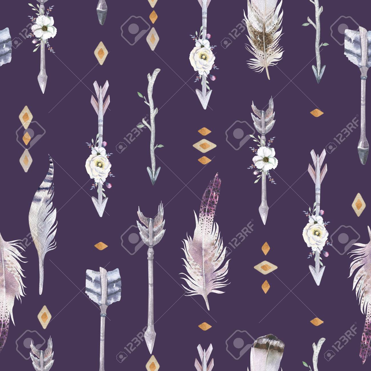 Watercolor Boho Seamless Pattern With Teepee Arrows And Feathers 1300x1300