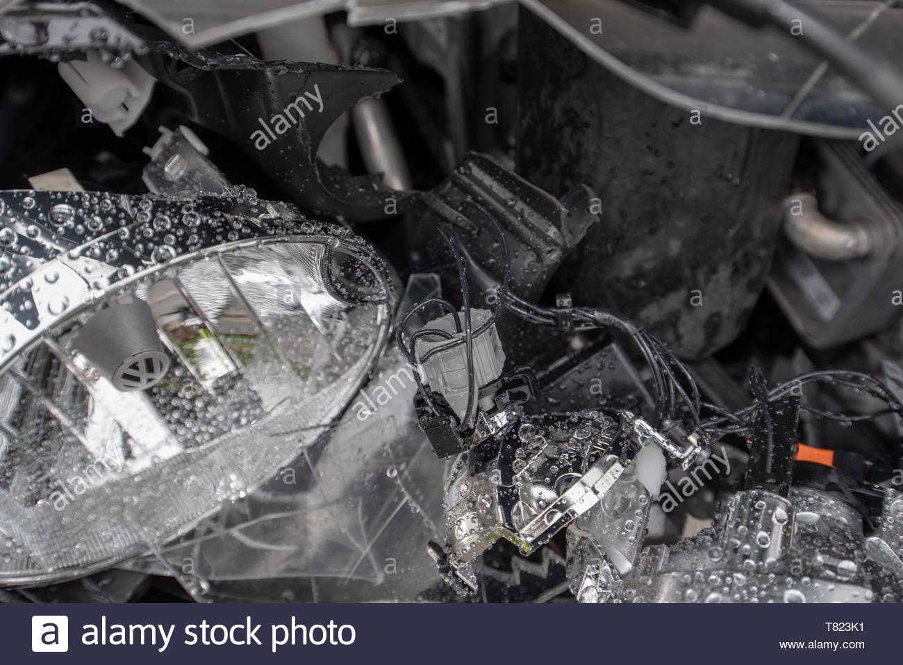 Head on car crash with police tape VW Golf blue Car crash 1300x957
