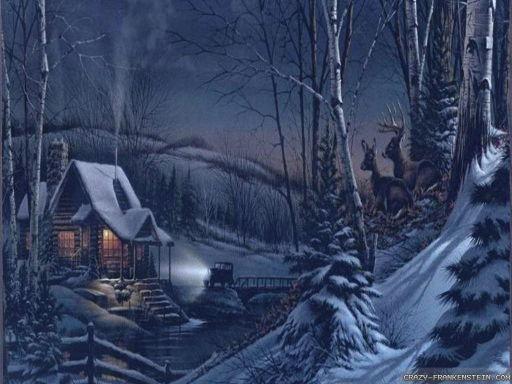 Wallpaper Cabin dark winter night wallpapers 1024x768