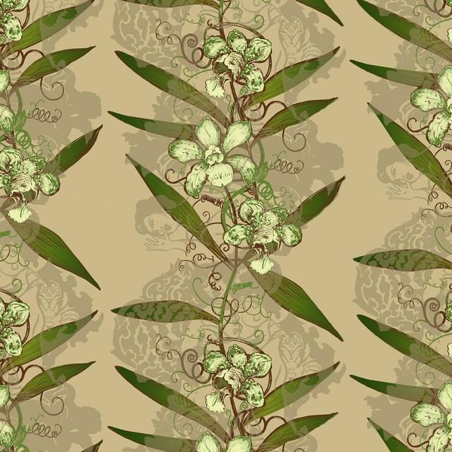 Beasties Oriental Orchid Hand Print Wallpaper contemporary wallpaper 640x640