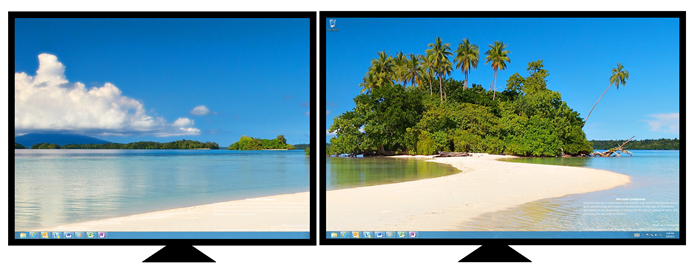 windows 7 dual monitor wallpaper configure