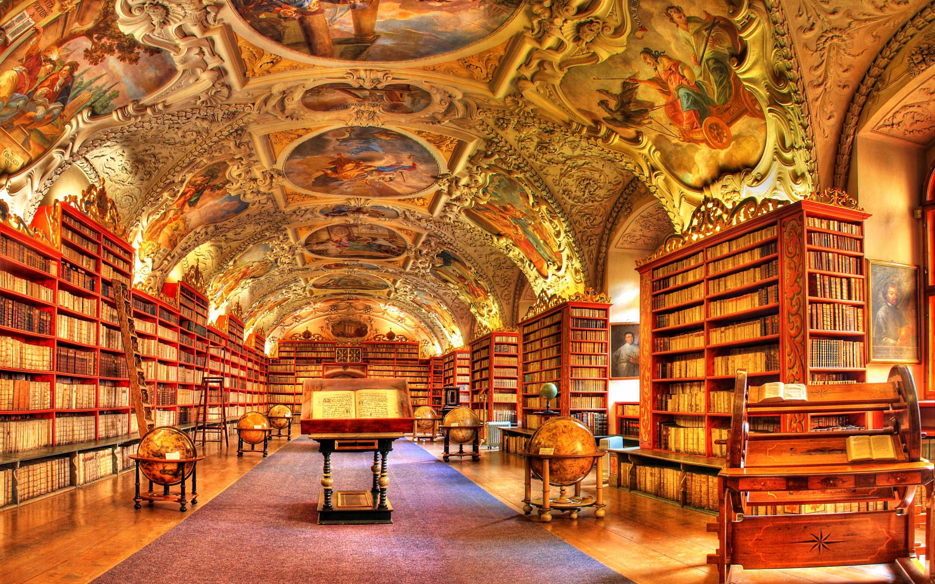 Hdr Photography Library Books Interior Design Wallpaper Background 1920x1200