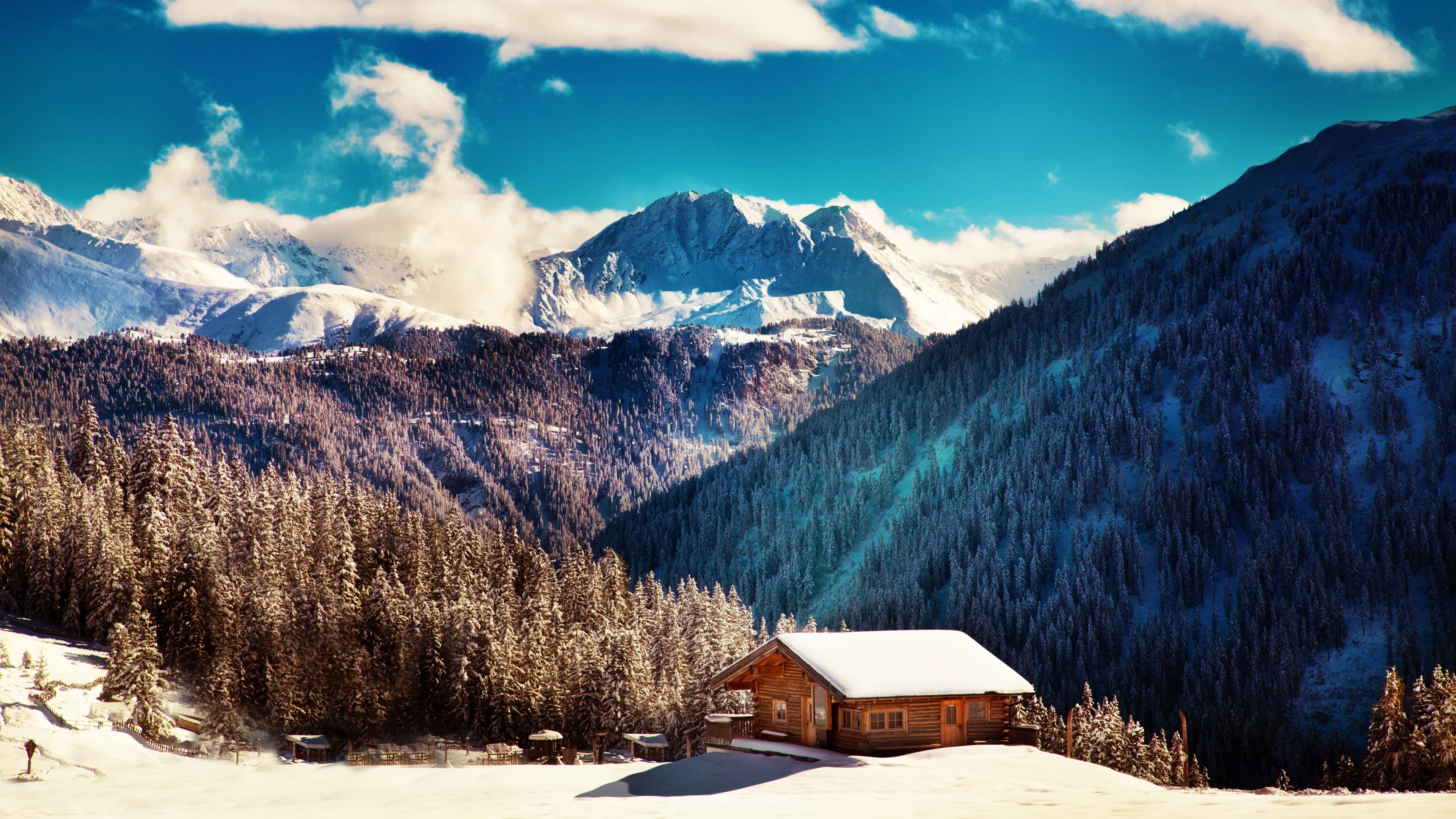 Mountain Retreat Winter landscape Landscape wallpaper Winter 3840x2160