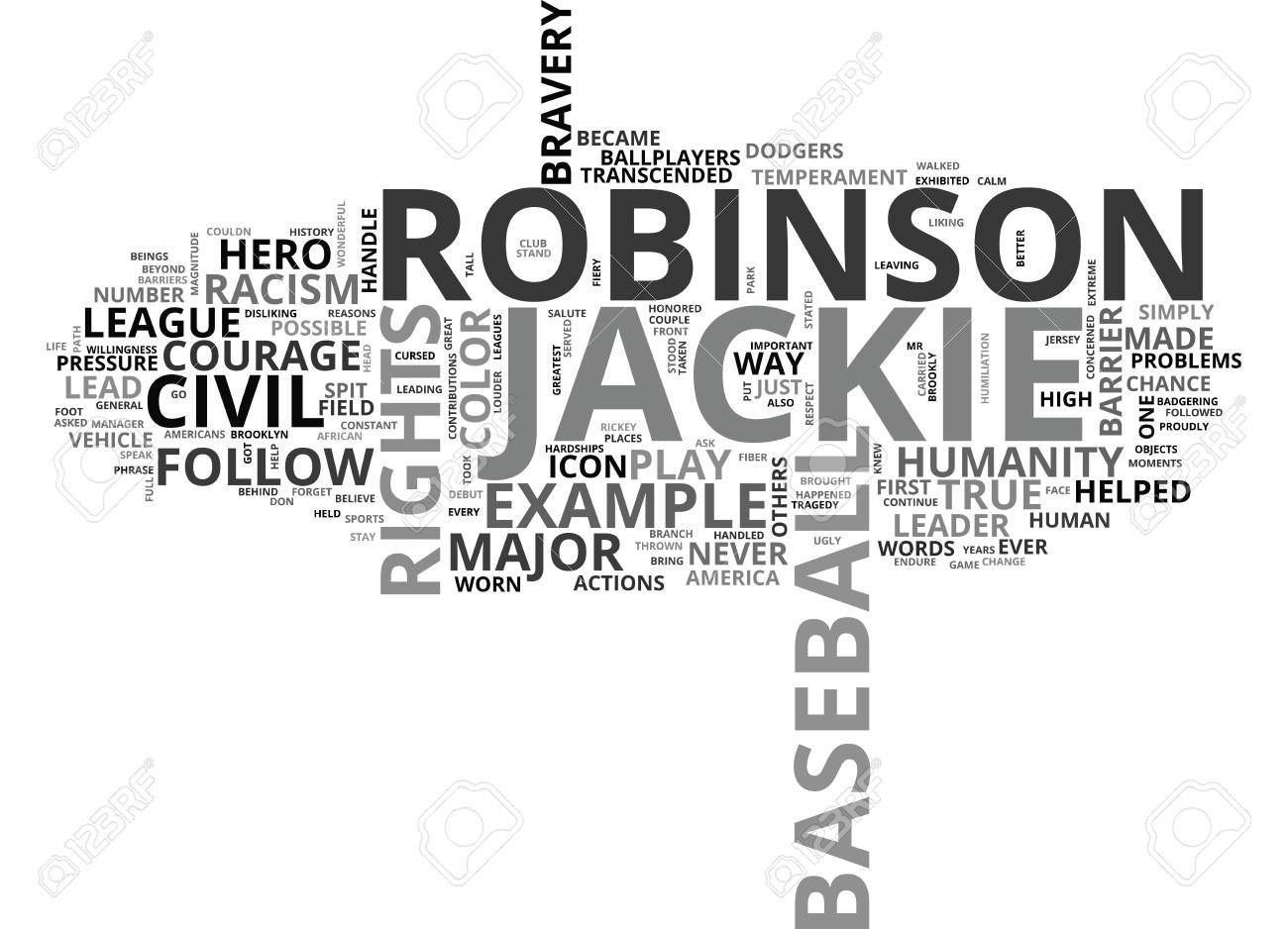 JACKIE ROBINSON A CIVIL RIGHTS HERO Text Background Word Cloud 1300x938