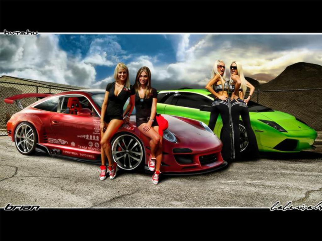 Car Girl and red Porsche 911 Wallpaper 1024x768