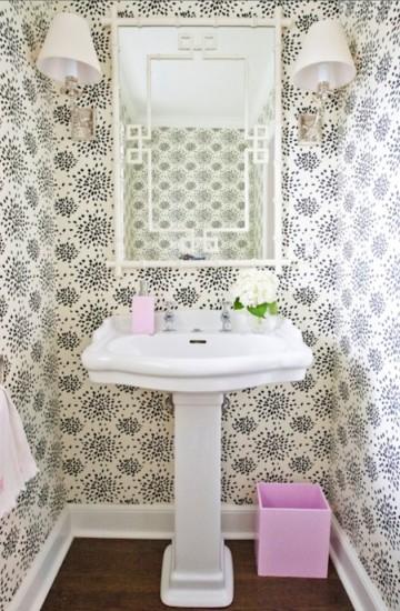 This powder room wallpaper strikes a bit of fun against the 360x550
