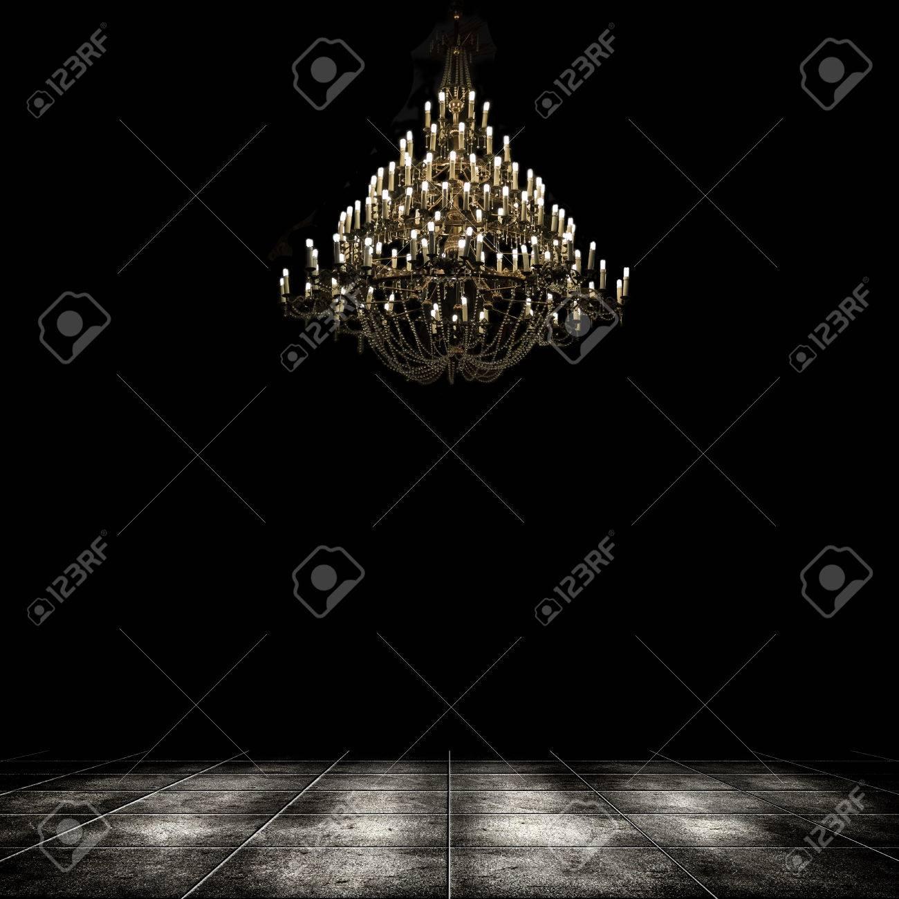 Image Of Grunge Dark Room Interior With Chandelier Background 1300x1300