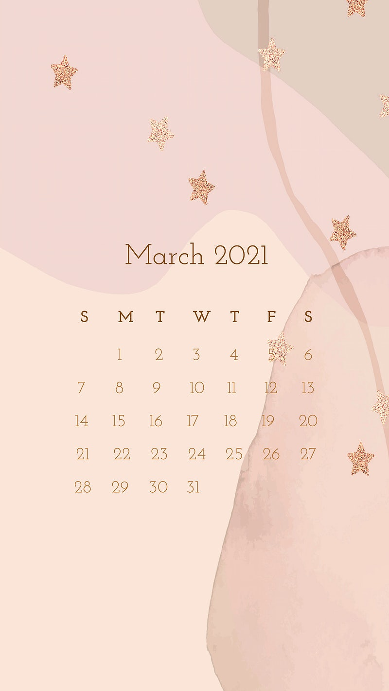 Calendar 2021 March printable with abstract watercolor background