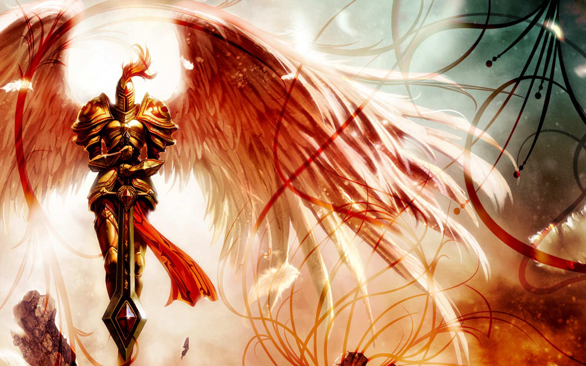 of Legends fantasy art angels knight armor warrior wings wallpaper 1920x1200