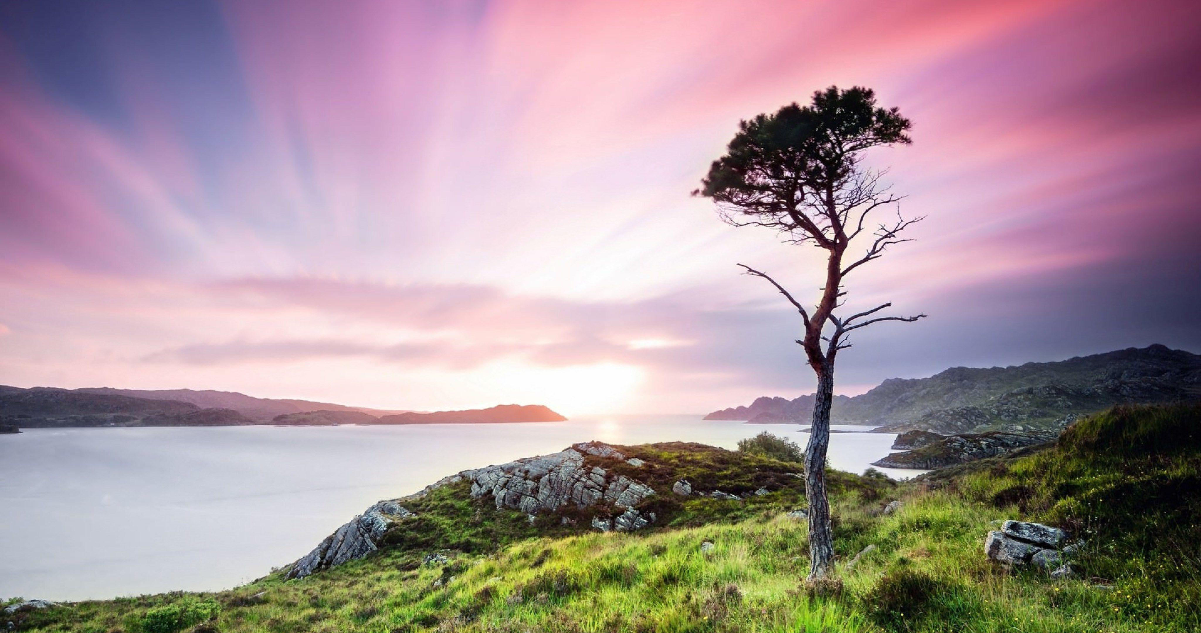 united kingdom scotland twilight landscape wide 4k ultra hd 4096x2160