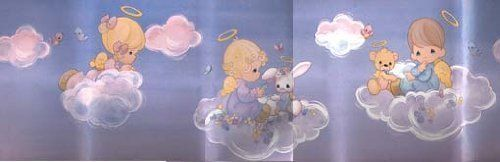 Precious Moments Wallpaper Border Boy Girl Angels on Clouds 5 Yds x 7 500x162