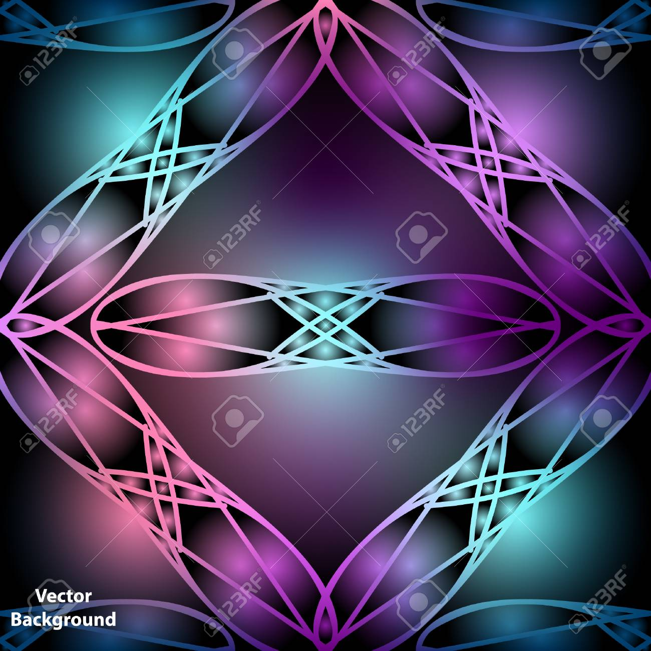 Vector Background With Colorful Abstract Ornament Neon Glow 1300x1300
