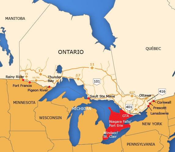 Wallpaper Borders In Ontario Canada Wallpapersafari - Canada-and-us-border-map