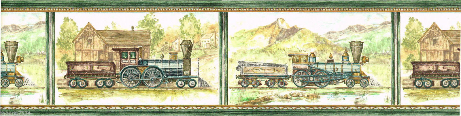 Vintage Antique Locomotive Steam Engine Train Scenic Green  57jpg 1600x404