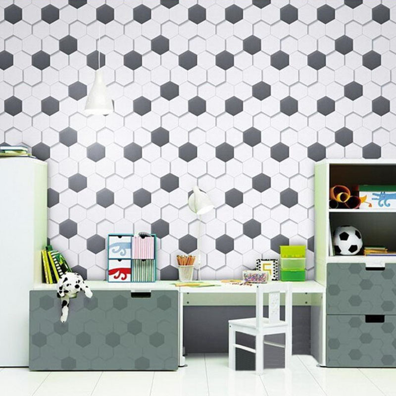 Modern Non woven wallpaper black and white geometric pattern hexagonal 800x800