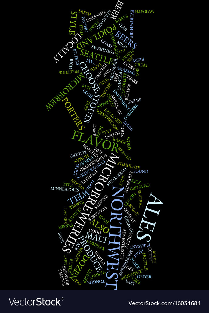Microbrews of the northwest text background word Vector Image 722x1080