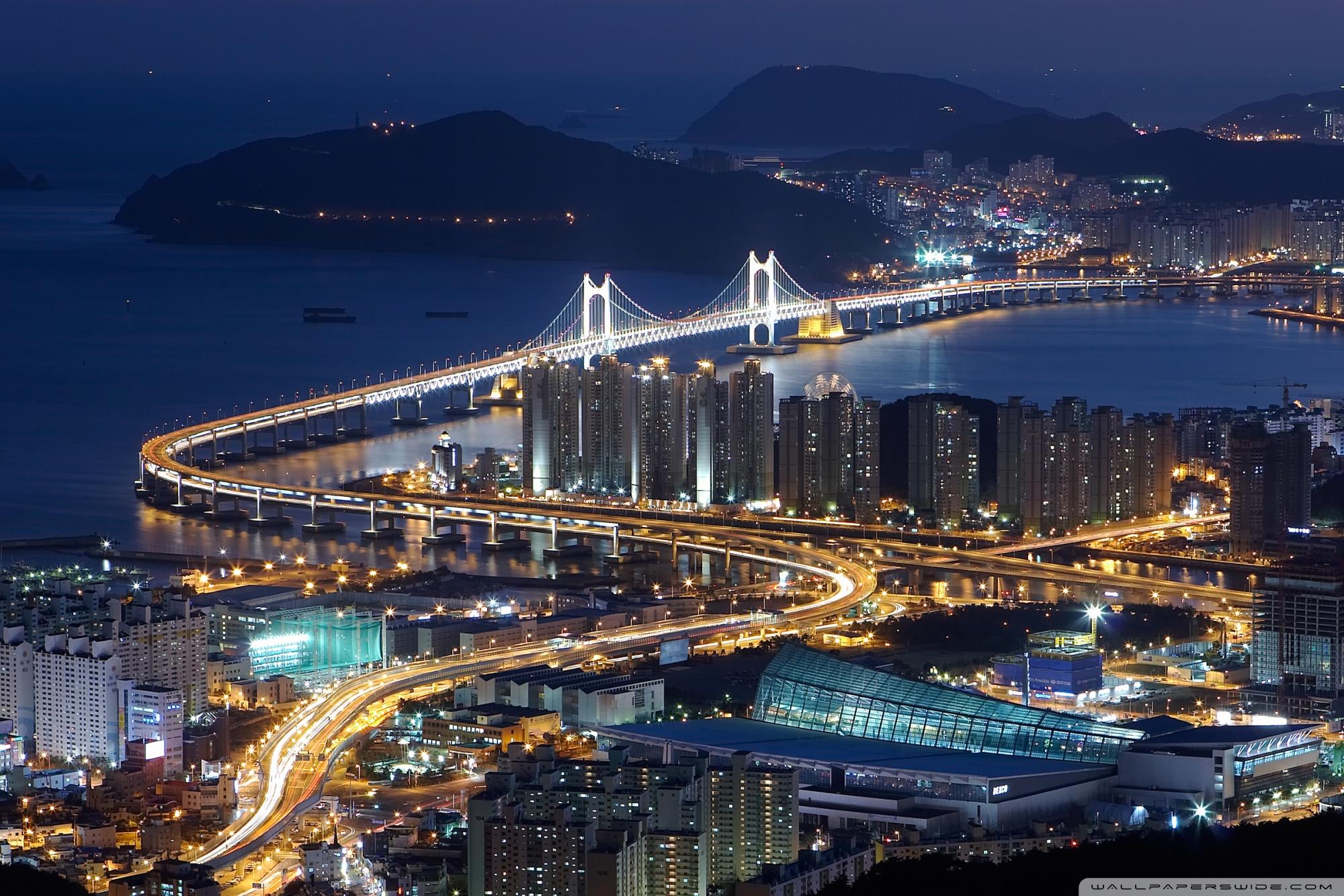 Gwangan Bridge Busan South Korea 4K HD Desktop Wallpaper for 2000x1333