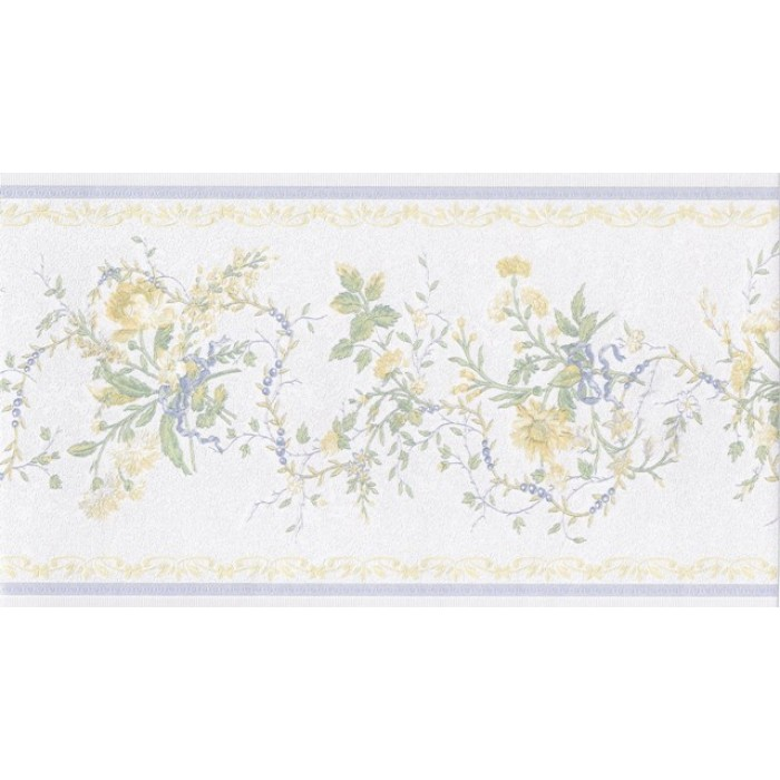 White Blue Yellow Elegant Floral Wallpaper Border 700x700