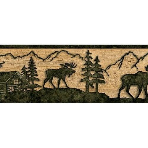 Timber Creek Lodge Border Silhouette MOOSE Log cabin Wallpaper wall 500x500