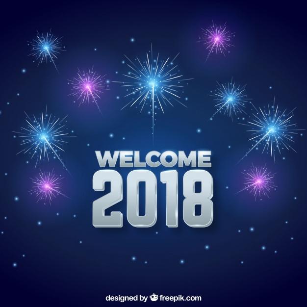 Welkom 2018 achtergrond met vuurwerk Vector Gratis Download 626x626