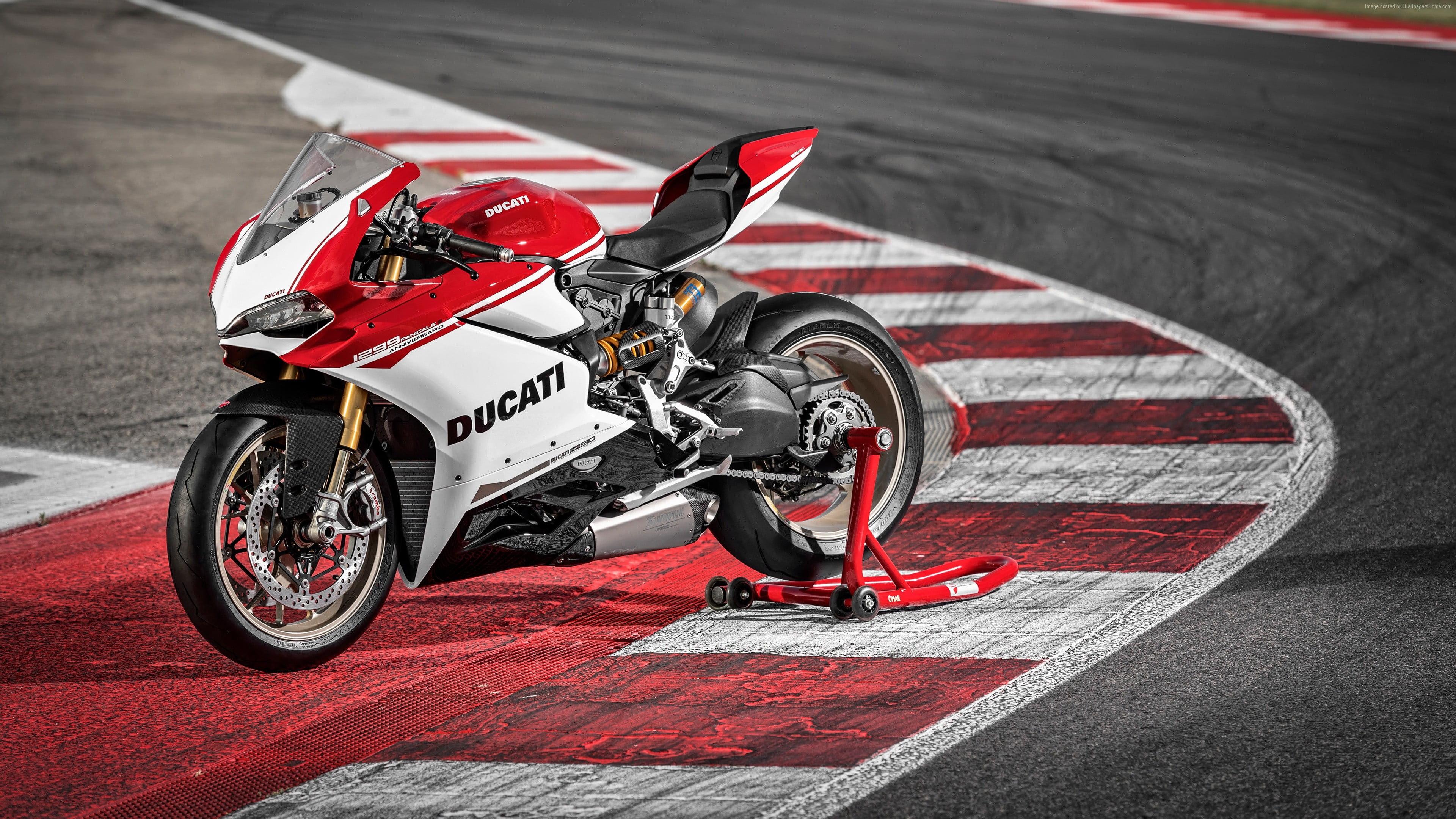 Red and white Ducati sports bike HD wallpaper Wallpaper Flare 3840x2160