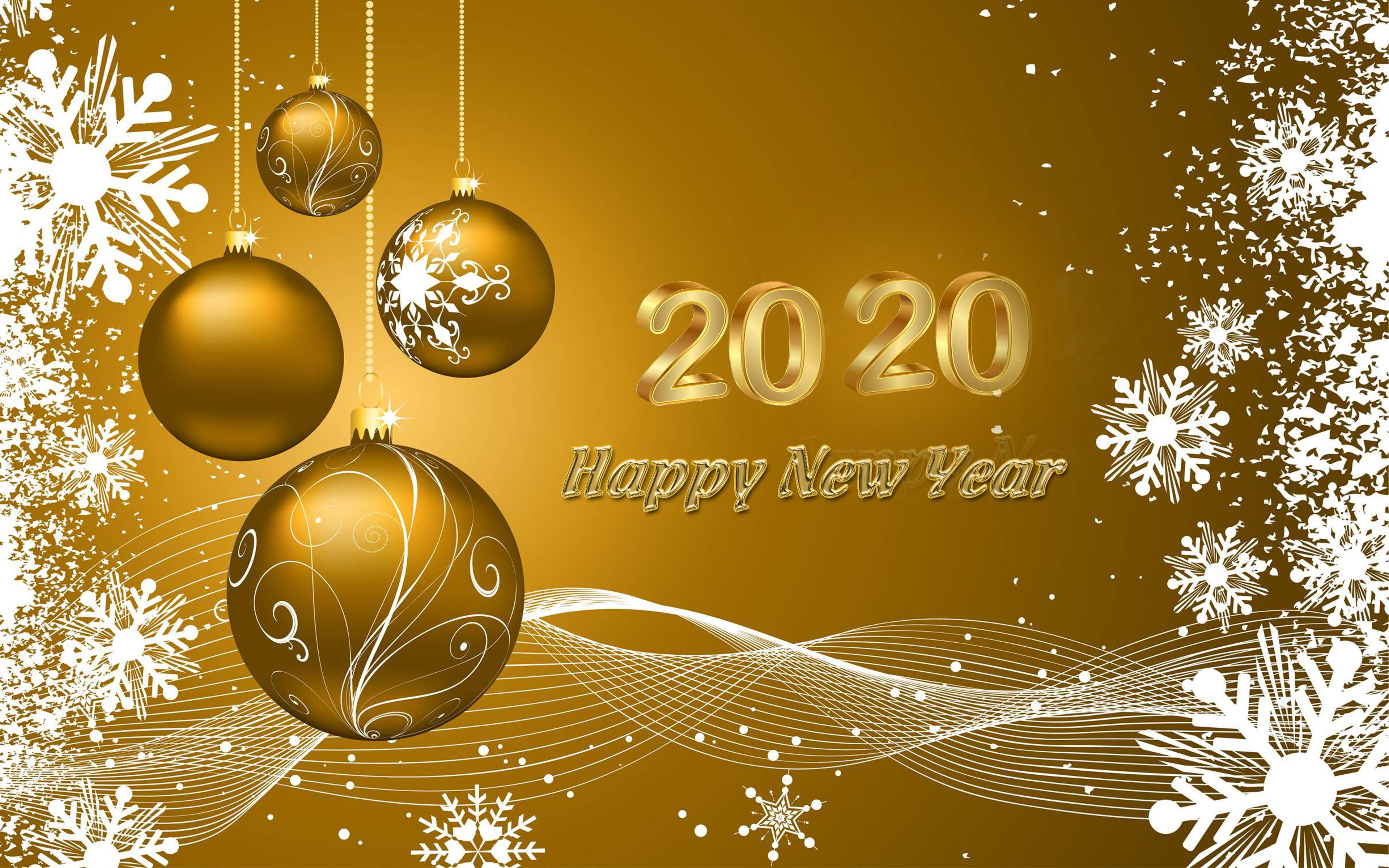Happy New 2020 Year Wishes Gold Greeting Card Quotes 4k Ultrahd 3840x2400