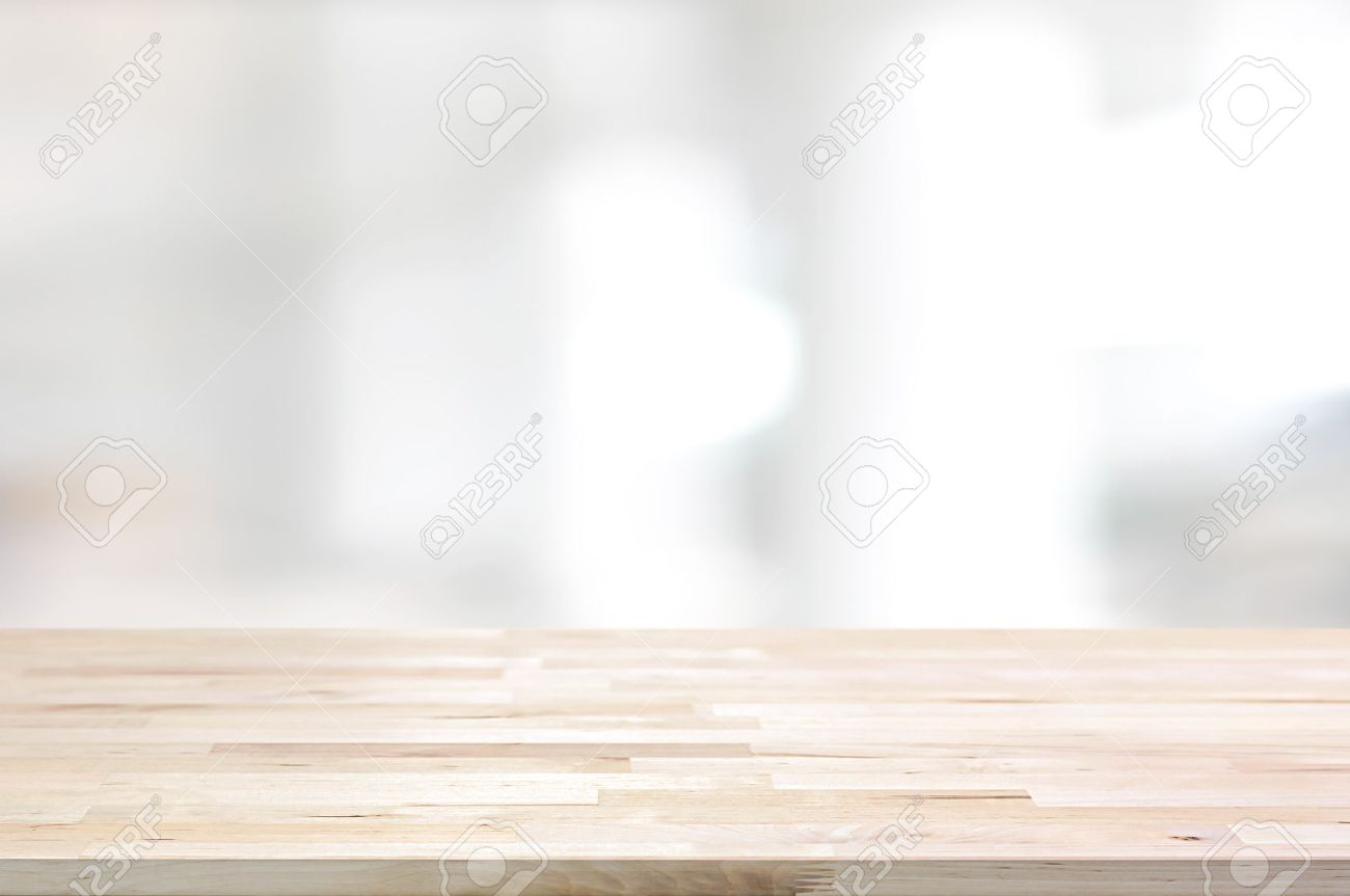 Wood Table Top On White Blurred Abstract Background From Building 1300x863