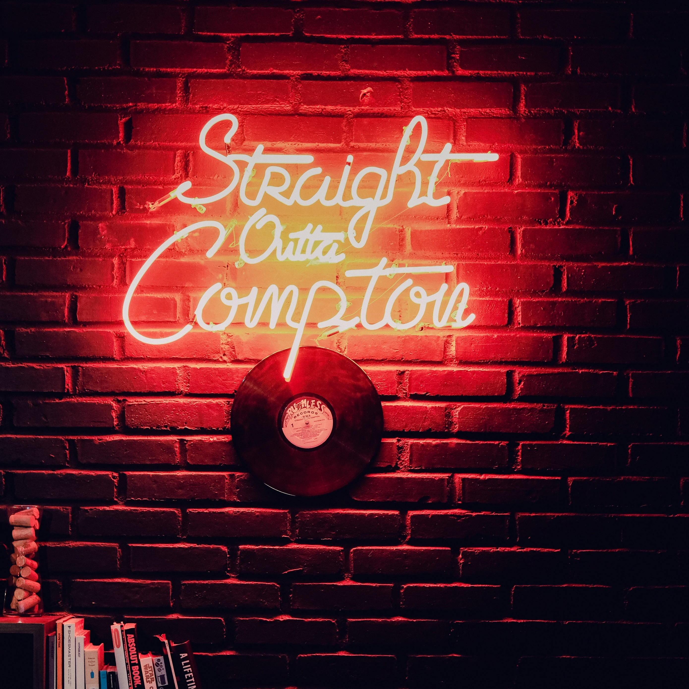 Download wallpaper 2780x2780 inscription wall neon vinyl record 2780x2780