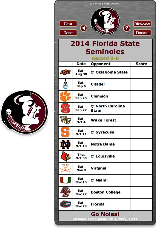 2014 FSU Seminoles Football Schedule Widget   Go Noles 522x760