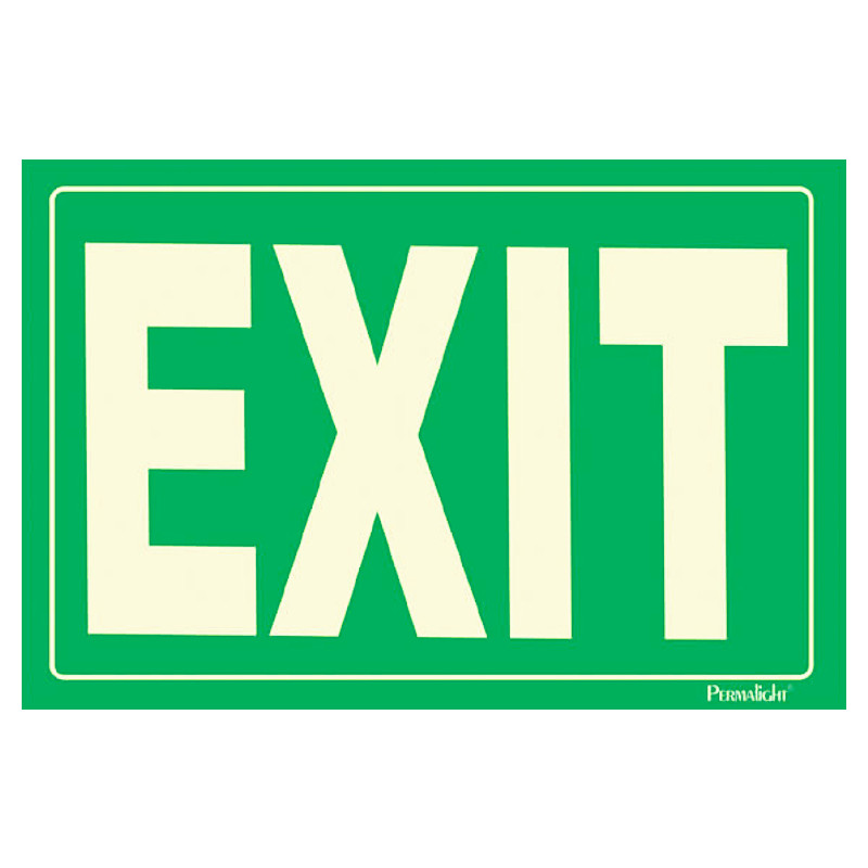 Self adhesive EXIT Sign green background 12 in x 8 in American 800x800